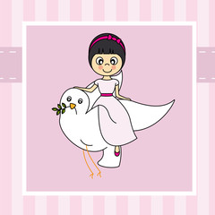 Girl first communion. Girl flying with a dove