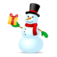 Snowman with present box