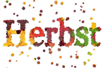 Schriftzug Herbst mit bunten Blättern