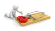 Man and Mousetrap with Dollar Sign (clipping path included)