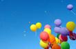 Leinwandbild Motiv multicolored balloons and confetti
