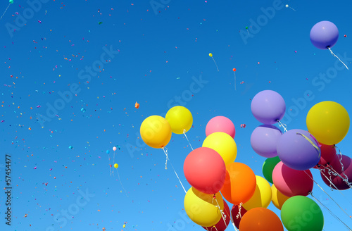 multicolored balloons and confetti - 57454477