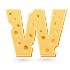 W cheese letter. Symbol isolated on white.