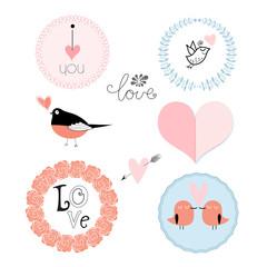 set of emblems for Valentine's Day
