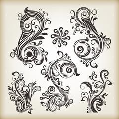 Floral vintage swirly design elements. Set 26.