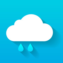 Day cloud and rain drops isolated on blue
