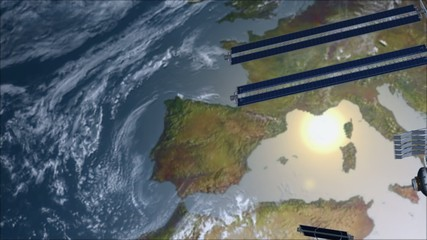 Satellite Space station flying over Europe