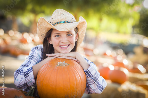 Preteen Girl Portrait at the Pumpkin Patch.