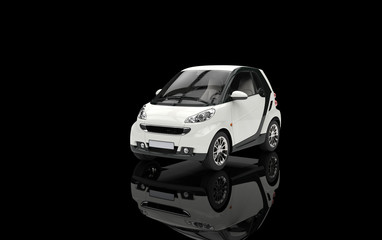 Small White Car On Black Background