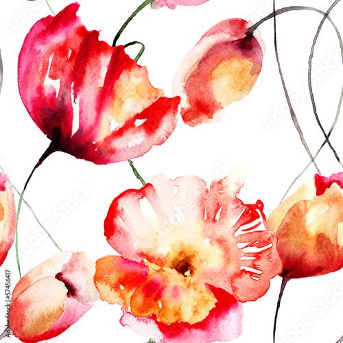 Seamless pattern with Tulips and Poppy flowers © Regina Jersova
