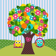 Obrazy na płótnie, fototapety, zdjęcia, fotoobrazy drukowane : beautiful tree with owls on swings - vector illustration
