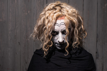 scary sugar skull mask woman