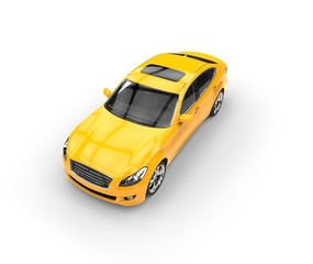 Yellow Car Perspective View