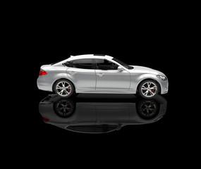 Silver Luxury Car On Black Background