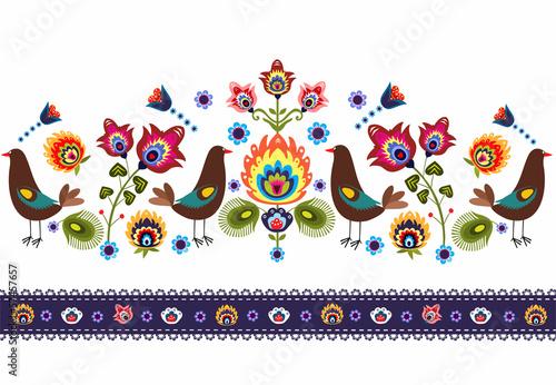 ludowy wzór  z ptakami