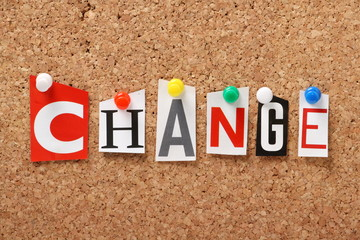 The word Change on a cork notice board