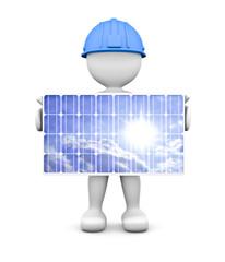 omino bianco con pannello solare