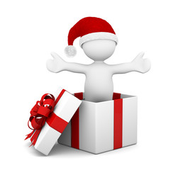 omino bianco nel pacco regalo