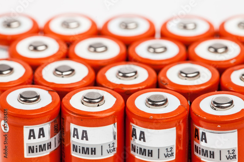 Orange rechargeable alkaline batteries