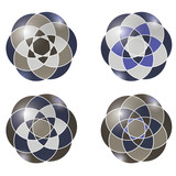 set of four abstract object