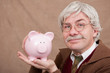 Old Man With Piggy Bank Pension Fund