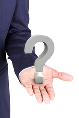 Business man holding a 3d question mark in hand palm
