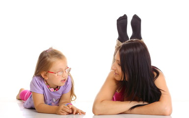 Children upbringing.Mother talking with daughter isolated