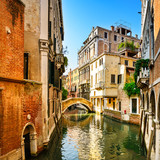 Fototapety Venice cityscape, buildings, water canal and bridge. Italy