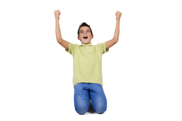 child celebrating with arms raised