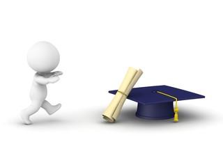 3D Man running after diploma