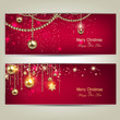 Set of Elegant Red Christmas banners with golden baubles and sta
