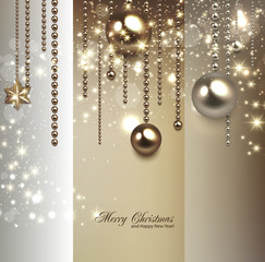 Elegant christmas background with golden baubles and stars. Vect