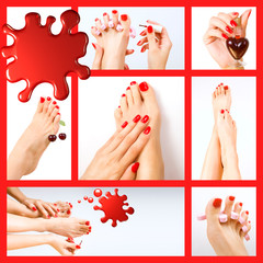 Collage of several photos for beauty industry (red manicure and