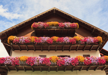 Balcony with many flowers
