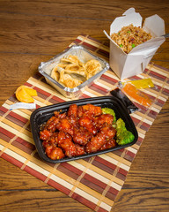 Chinese take-out sesame chicken meal