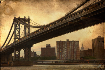 Manhattan Bridge New York City retro style with texture