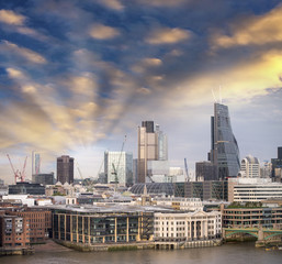 London, UK. City skyline aerial view at sunset