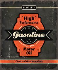 Vintage Gasoline motor oil poster design
