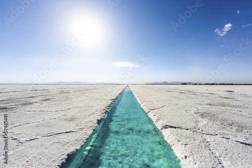 Water pool on Salinas Grandes Jujuy, Argentina. - 57465441