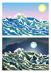 Sea waves in the day and night time, vector