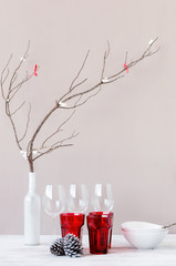 Modern minimalistic christmas decoration and crockery