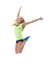 Cutout of happy young blonde posing in jump