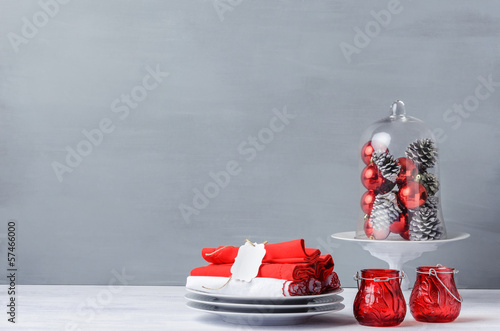 Christmas table display, modern simple minimalistic