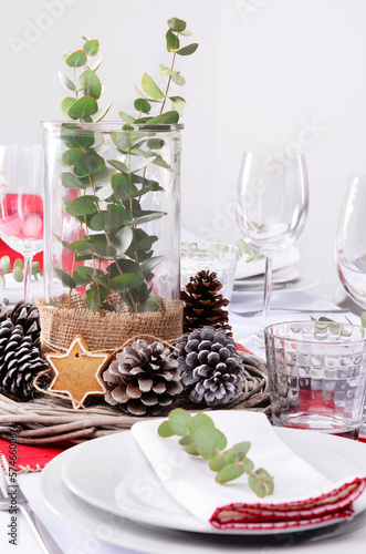 Rustic christmas centerpiece for dinner place setting