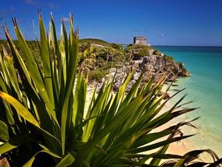 Mayan Ruins Tulum Beach Carribbean Sea Mexico