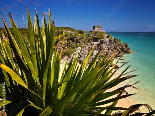 Mayan Ruins Tulum Beach Carribbean Sea Mexico