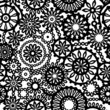 Black and white abstract lace seamless pattern, vector