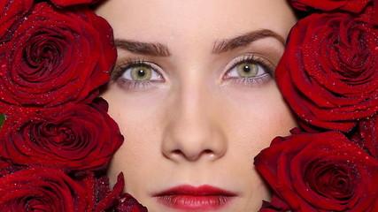 Face of beaatiful lady in flowers