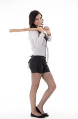 Pretty hispanic lady with a baseball bat, studio portrait