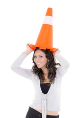 hispanic Woman with safety cone